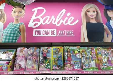 PENANG, MALAYSIA - 26 DEC, 2018: Barbie toys for girls on store shelf. Barbie is a fashion doll manufactured by the American toy-company Mattel and launched in March 1959.