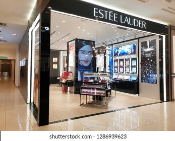 PENANG, MALAYSIA - 26 DEC, 2018: Estee Lauder cosmetic store in Gurney shopping mall. The Estee Lauder Company is an American manufacturer of skincare, makeup, fragrance and haircare products.