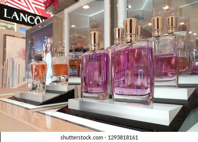 PENANG, MALAYSIA - 26 DEC, 2018:  Lancome brand perfumes display on store shelf in Gurney Plaza Mall. Lancome is a French luxury perfumes and cosmetics house distributing products internationally.