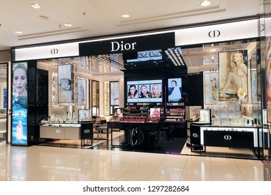 PENANG, MALAYSIA - 26 DEC, 2018: Dior brand cosmetics in Gurney Plaza Mall. Cosmetics are the most accessible Dior product, with counters in upmarket department stores across the world.