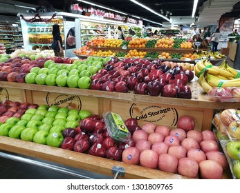 PENANG, MALAYSIA - 26 DEC, 2018: Fresh fruits and vegetables on the shelf in Cold Storage supermarket. Cold Storage is a supermarket chain in Singapore, owned by Dairy Farm International Holdings.
