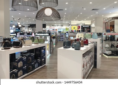 PENANG, MALAYSIA - 28 JUNE 2019: Interior view of Harvey Norman store in shopping mall. An Australian based multinational retailer of furniture, bedding, computers and consumer electrical products.