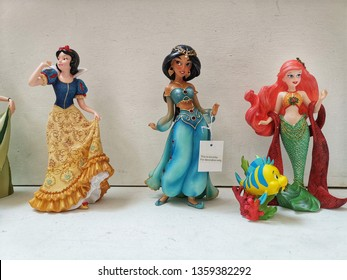 Penang, Malaysia - 29 March 2019: Disney clay figure of various princess on display.