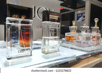 PENANG, MALAYSIA - 3 OCT 2018: Dior brand cosmetics store in Gurney Plaza Penang. Cosmetics are the most accessible Dior product, with counters in upmarket department stores across the world.
