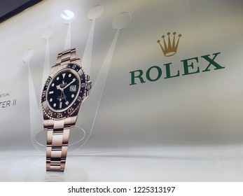PENANG, MALAYSIA - 3 OCT 2018: Rolex store store sign in Gurney, Penang. Rolex SA is a Swiss luxury watchmaker. It is the largest single luxury watch brand, producing about 2,000 watches per day.