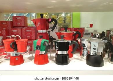 PENANG, MALAYSIA - 30 JULY 2020: Bialetti Express Moka Pot on display at a store in Penang.