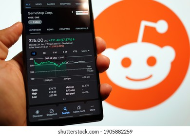 PENANG, MALAYSIA - 31 JAN 2021: GameStop Corp stock index is seen on a smartphone. GameStop's stock soars as small traders from a Reddit group team up against big institutions.