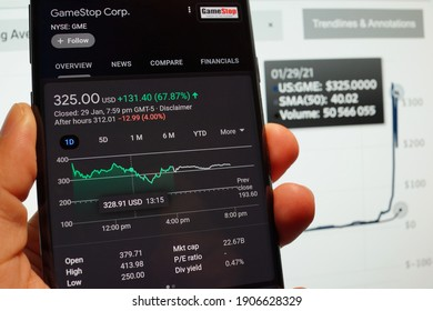 PENANG, MALAYSIA - 31 JAN 2021: GameStop Corp stock index is seen on a smartphone. Trading in GameStop impacts Wall Street hedge funds.