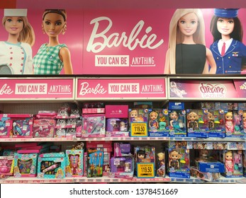 PENANG, MALAYSIA - 31 MAR, 2019: Barbie toys for girls on store shelf. Barbie is a fashion doll manufactured by the American toy-company Mattel and launched in March 1959.