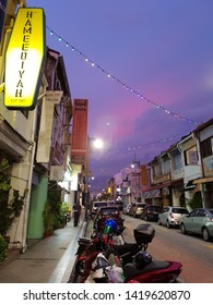 Penang, Malaysia - 4 JUNE 2019 : Campbell street in Georgetown view during dusk with rows of old established business shop lots including infamous restaurant, Hameediyah.