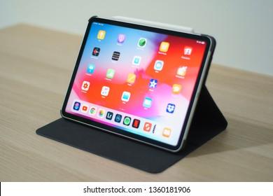Penang, Malaysia - 5 April 2019: Setup of iPad Pro 11 by Apple as daily driver.