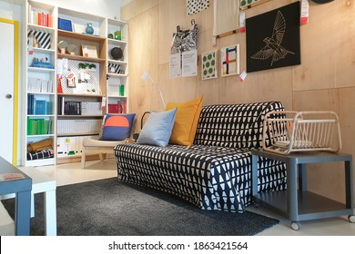 PENANG, MALAYSIA - 5 NOV 2020: View of modern interior home design in IKEA Store Batu Kawan Penang. IKEA was founded in of Sweden in 1943, it is the world's largest furniture retailer since 2008.