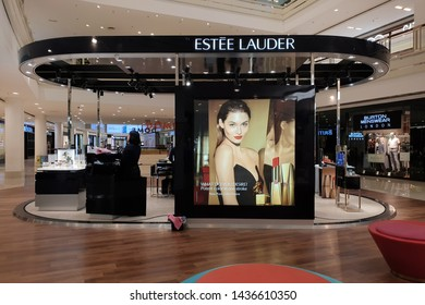PENANG, MALAYSIA - 6 MAY 2019: View Estee Lauder cosmetic store in shopping mall. The Estee Lauder Companies is an American manufacturer of prestige skincare, makeup, fragrance and haircare prod