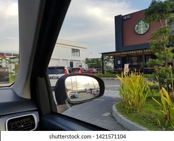 Penang, Malaysia - 7 JUNE 2019 : Queuing at Starbucks drive thru located at near highway in Juru town.