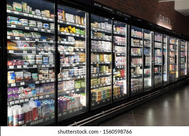 PENANG, MALAYSIA - 7 NOV 2019: Interior view of huge glass refrigerator with various brand beverage and food in Mercato grocery store. Mercato is the coolest fresh premium supermarket in Malaysia.