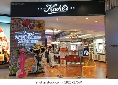 PENANG, MALAYSIA - 7 SEP 2020: Kiehl's cosmetics store in Gurney shopping mall. Kiehl's is an American cosmetics brand retailer that specializes in premium skin, hair, and body care products.
