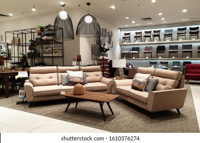 PENANG, MALAYSIA - 9 JAN 2020: Interior view furniture department in Harvey Norman store Penang. Australian based multinational retailer of furniture, bedding and consumer electrical products.