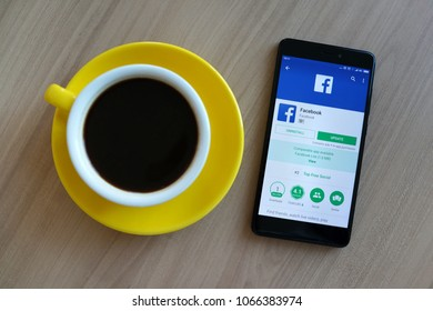 PENANG, MALAYSIA - APR 10, 2018: Facebook uninstall and update app on a Android phone on display. Facebook security and privacy issues.