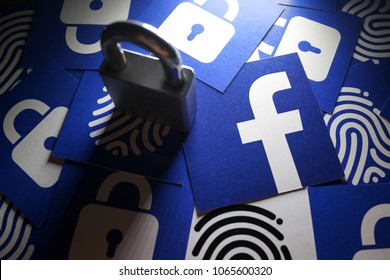 PENANG, MALAYSIA - APRIL 10, 2018: Facebook security and privacy issues. Close up Facebook logo with the security lock and thumb print icons surrounded it.