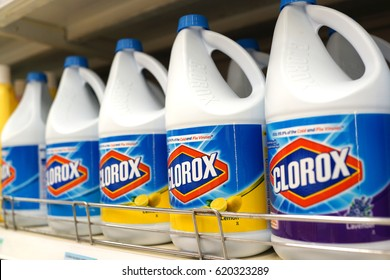 PENANG, MALAYSIA : APRIL 11, 2017. Bottles of Corox Bleach on store shelves. Clorox is an American Company founded in 1913
