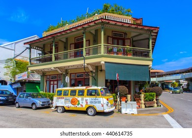 PENANG, MALAYSIA - APRIL 15 : Old building Sino Portuguese style in Penang on March 15, 2016 in Penang, Malaysia. Old building is a very famous tourist destination of Penang.