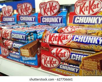 PENANG, MALAYSIA - APRIL 23, 2017: Kit Kat Chunky on supermarket shelf. Kit Kat bars are produced by Nestle.