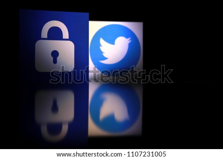 PENANG, MALAYSIA - APRIL 25, 2018: Twitter security and privacy issues. Close