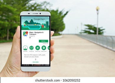Penang, Malaysia - April 3, 2018: Female hand holding smartphone displaying Google Maps application. Google Maps is most popular mapping service for mobile provided by Google.