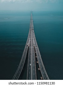 Penang, Malaysia. Aug 06 2018. Penang Bridge from aerial perspective. A 13.5KM length dual carriageway bridge in the state of Penang, Malaysia.
