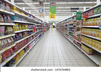 PENANG, MALAYSIA - AUG 2, 2019: Interior view of Giant hypermarket. Giant Malaysia is a trusted supermarket brand that offers the finest selection local and imported quality products.