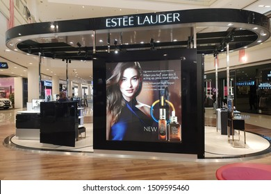PENANG, MALAYSIA - AUG 26, 2019: Estee Lauder cosmetic store in shopping mall. The Estee Lauder Companies is an American manufacturer of prestige skincare, makeup, fragrance and haircare product.