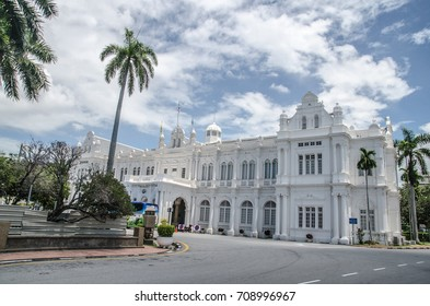 Penang, Malaysia - August 14  2017 - The old town of Georgetown in Penang, northern of Malaysia, Old Heritage British Colonel Building used for current Penang Local Council in Esplanade,