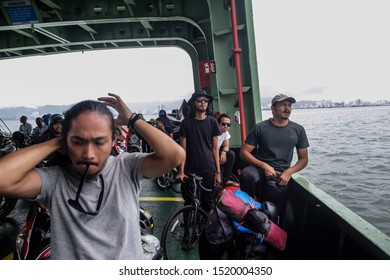 Penang, Malaysia - August 20,2019. Touring bicycle at ferry to Penang Island, Malaysia. Hikers with bikes.Sports and cycling,healthy lifestyle.Traveling on bikes