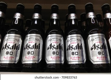 PENANG, MALAYSIA - AUGUST 24, 2017 : Asahi Super Dry Beer on store shelf. Asahi Breweries, Ltd. is a leading brewery and soft drink company based in Tokyo, Japan.