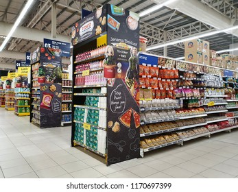 PENANG, MALAYSIA - AUGUST 27, 2018:  Interior view of a Tesco hypermarket in Penang. Tesco is the 3rd largest retailer stores worldwide, British multinational grocery and general merchandise retailer.