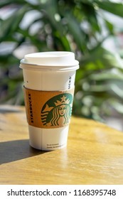 Penang, Malaysia - August 31, 2018: Starbucks Coffee. Starbucks is the largest coffeehouse company in the world, with 20,891 stores in 62 countries.