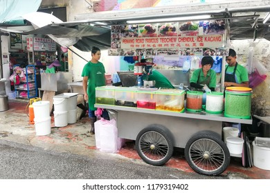 PENANG, MALAYSIA, August 7, 2018:  Penang is known for its food.  Featured here the famous Penang Road chendol, must have when visiting Penang Island.