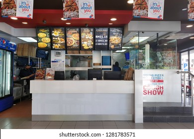 PENANG, MALAYSIA - DEC 13, 2018 : Interior view of Domino's Pizza restaurant.  Domino's, is an American pizza restaurant chain founded in 1960. It is largest pizza seller worldwide in terms of sales.