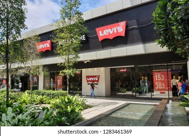 PENANG, MALAYSIA - DEC 16, 2018: Levi's store in Design Village Outlet Mall. Levi Strauss & Co. is a privately owned American clothing company known worldwide for its Levi's brand of denim jeans.