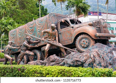 Penang, Malaysia - Dec 9, 2017: Chinese Relief Memorial in Penang. It depicts the workers who volunteered to build road between Burma and China after Japanese blockaded Chinese seaports during WWII.