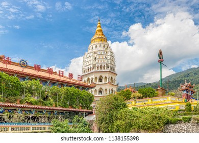 Penang, Malaysia - Dec 9, 2017: Pagoda of 10,000 Buddhas at Kek Lok Si Buddhist temple complex in Penang. It is said to be the largest Buddhist temple in Malaysia.