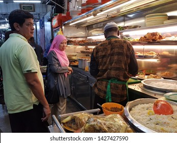 Penang, Malaysia. December 1, 2018. The best and one of the oldest 'nasi kandar' eateries on the island, Nasi Kandar Line Clear is a must-visit to try the hearty rice dish that originates from Penang