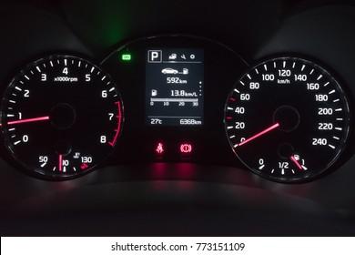 PENANG, MALAYSIA- DECEMBER 12, 2017: Kia Cerato dashboard with Eco mode sign.