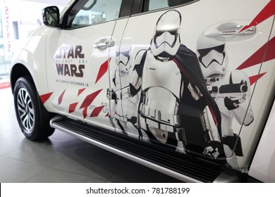 PENANG, MALAYSIA - DECEMBER 20, 2017 : The Nissan Star Wars The Last Jedi SUV on display at the Nissan car showroom on December 20, 2017 in Penang, Malaysia.