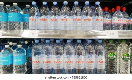 PENANG, MALAYSIA - December 20, 2017 - variety of drinking water, are placed on shelves & display in the grocery store.