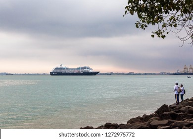 Penang Malaysia, December 2018 : Azamara cruise club view by the shore of George Town