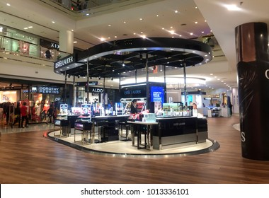 Penang, Malaysia, December 23, 2017 : Estee Lauder cosmetic stand alone shop in shopping mall. Estee Lauder Companies is an American manufacturer of prestige skincare, makeup, fragrance and haircare.