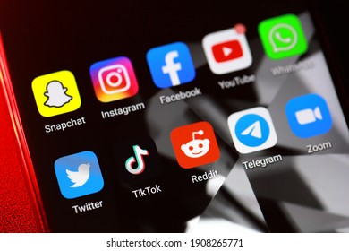 PENANG, MALAYSIA - FEB 1, 2021: Social media application icons on an Android phone. Social media are interactive digitally-mediated technologies that sharing information via virtual networks.