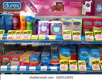 PENANG, MALAYSIA - FEB 12, 2018: Durex range of condoms and lubricant. Durex is the trademarked name for a range of condoms that were made by SSL international.