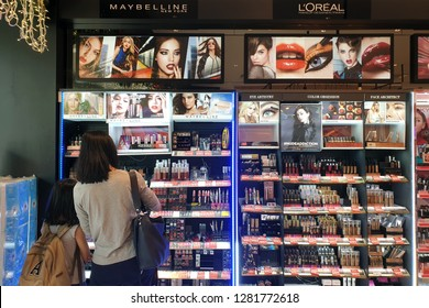 PENANG, MALAYSIA - FEB 12, 2018 : Maybelline cosmetics store in shopping mall. Maybelline is a major American makeup brand sold worldwide and a subsidiary of French cosmetics company L'Oréal.
